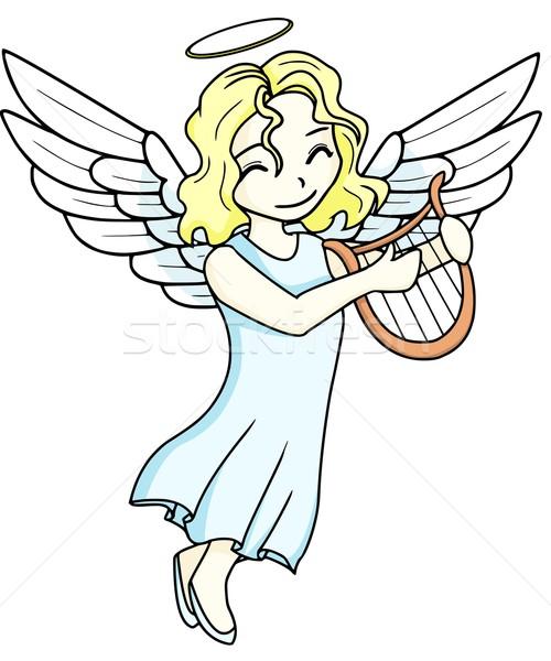 天使 ハープ 演奏 髪 羽毛 フライ ストックフォト © Li-Bro
