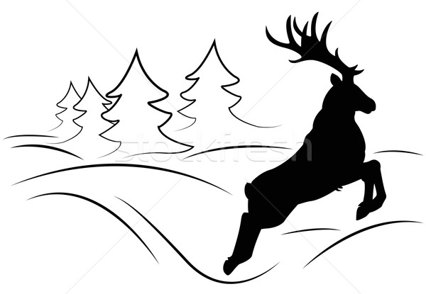 鹿 を実行して 木 ジャンプ 実行 デジタル ストックフォト © Li-Bro