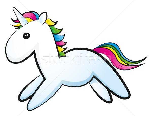 かわいい 馬 虹 動物 ファンタジー コミック ストックフォト © Li-Bro