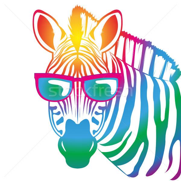 Zebra kleurrijk zonnebril groene Blauw Rood Stockfoto © Li-Bro