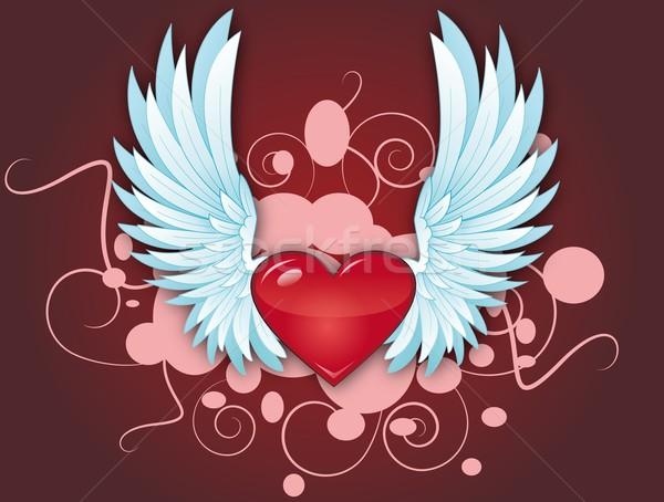 飛行 中心 翼 バラ 赤 友情 ストックフォト © Li-Bro