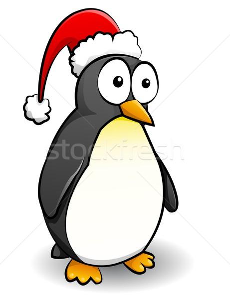 ペンギン クリスマス キャップ 赤 黒 面白い ストックフォト © Li-Bro
