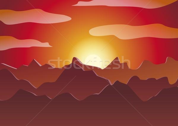 山 日没 自然 山 赤 黄色 ストックフォト © Li-Bro