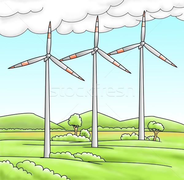 自然 木 フィールド 緑 電源 風 ストックフォト © Li-Bro