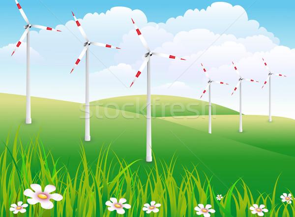 草 風景 木 フィールド エネルギー 風 ストックフォト © Li-Bro