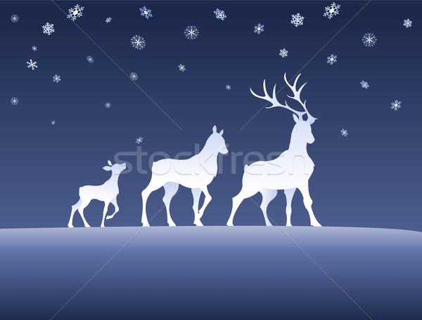 家族 雪 1泊 デジタル 鹿 動物 ストックフォト © Li-Bro
