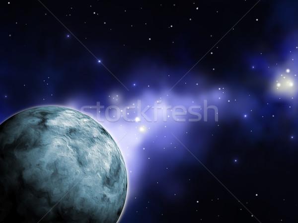 Blauw planeet hemel zon maan sterren Stockfoto © Li-Bro