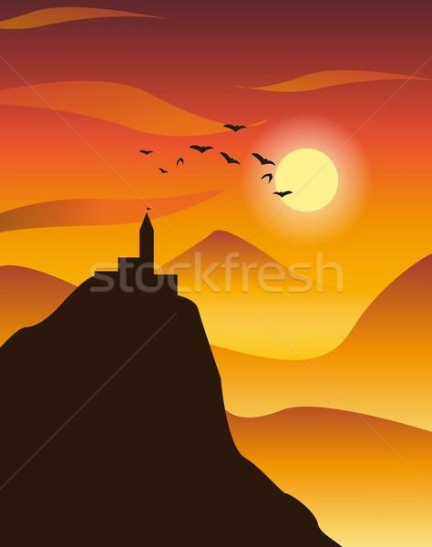 日没 山 太陽 山 オレンジ 城 ストックフォト © Li-Bro