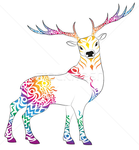 鹿 カラフル パターン 動物 色 魔法 ストックフォト © Li-Bro