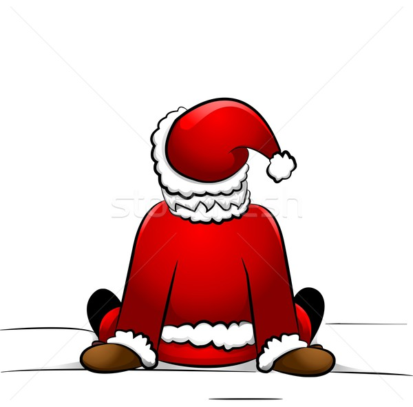 Santa sitting in the snow Stock photo © Li-Bro