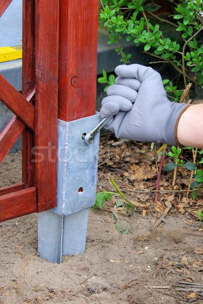 Gebouw hout werk bed vuil ijzer Stockfoto © LianeM