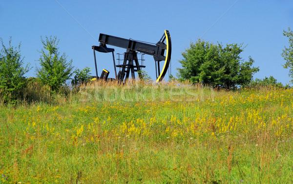 Olie pompen hemel bouw technologie Blauw Stockfoto © LianeM