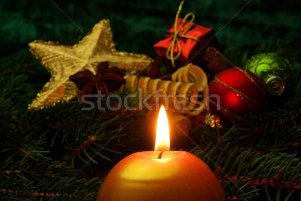 Advent çelenk yeşil top star altın Stok fotoğraf © LianeM
