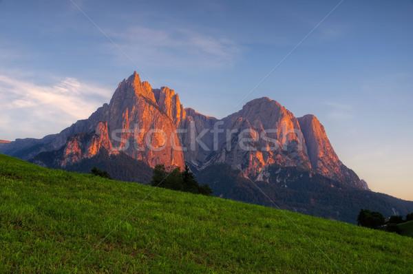 Schlern Alpine glow Stock photo © LianeM