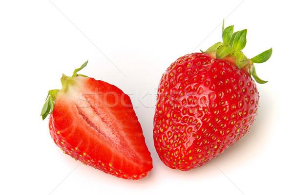 Aardbei voedsel blad vruchten achtergrond Rood Stockfoto © LianeM
