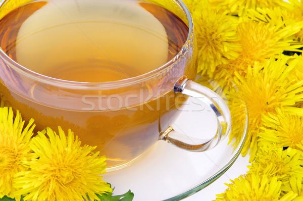 Thé pissenlit fleur alimentaire verre vert Photo stock © LianeM