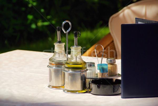 Ecet olaj étel üveg asztal főzés Stock fotó © LianeM