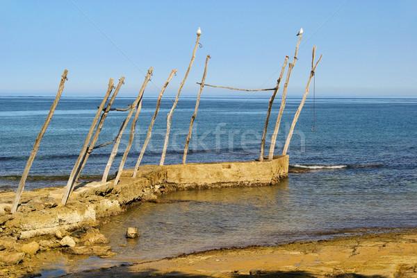 Iniş sahne plaj su ahşap deniz Stok fotoğraf © LianeM