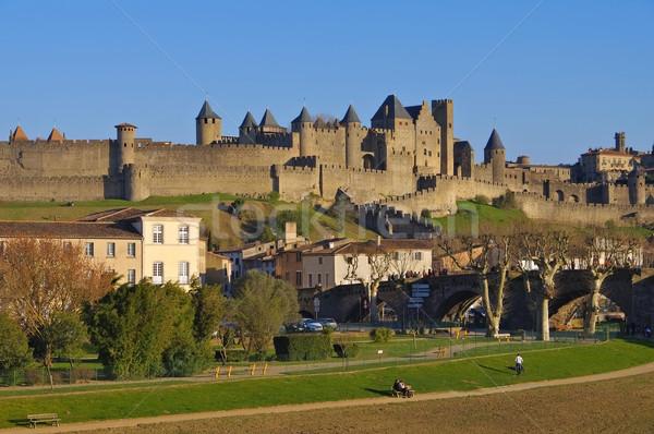 Castle of Carcassonne Pont Vieux, France Stock photo © LianeM