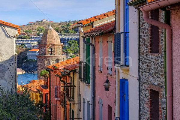 small street in Collioure in France Stock photo © LianeM