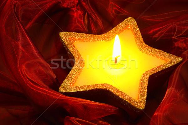 Gyertya piros 13 tűz háttér csillag Stock fotó © LianeM