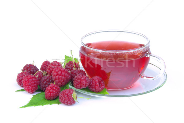 Foto stock: Té · de · frambuesa · médicos · hoja · frutas · vidrio · fondo