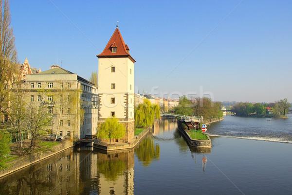 Prag Bina inşaat duvar saat dizayn Stok fotoğraf © LianeM
