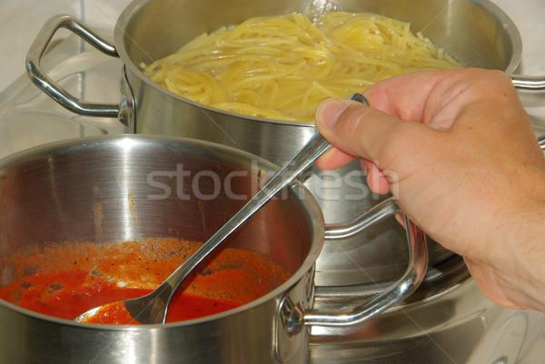 Koken spaghetti 14 Rood pasta kok Stockfoto © LianeM