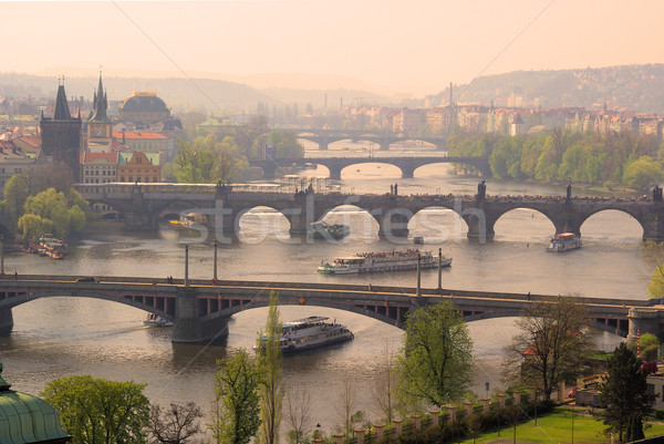Prague bridges aerial view 08 Stock photo © LianeM