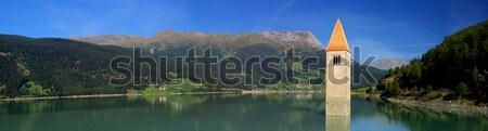 ストックフォト: 教会 · 水 · 青 · 湖 · 塔 · イタリア