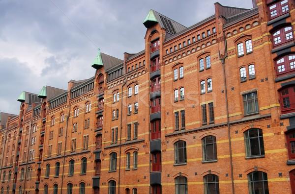Foto stock: Hamburgo · ciudad · edificio · azul · rojo · ladrillo