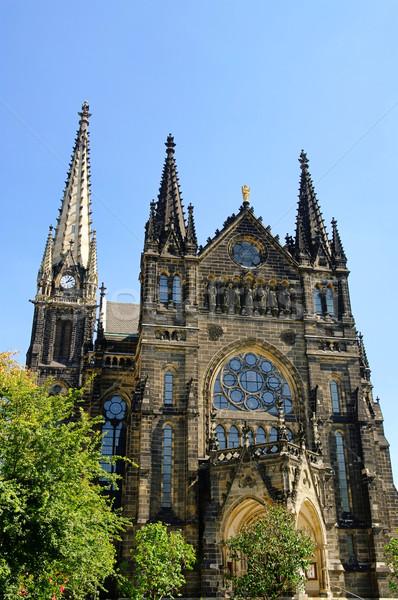 église ciel fenêtre bleu gothique anciens Photo stock © LianeM