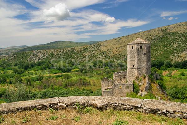 16 górskich niebieski zamek architektury Hill Zdjęcia stock © LianeM