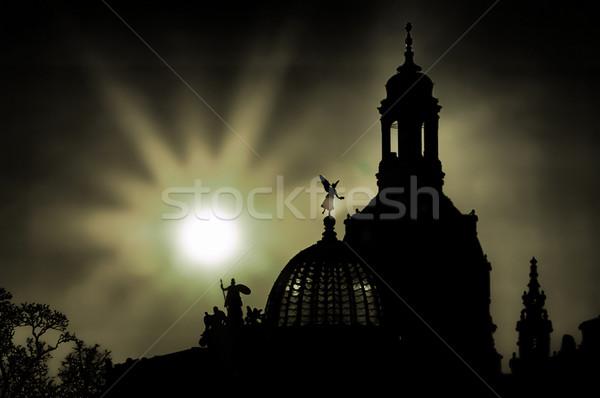 Дрезден Церкви Lady ночь небе здании Сток-фото © LianeM