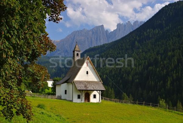 Kapel rock Europa weide vallei Italië Stockfoto © LianeM