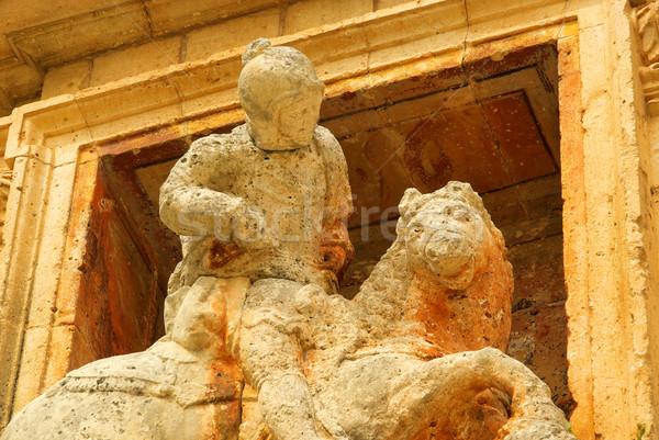 Lovas szobor kő lovag szobor Stock fotó © LianeM