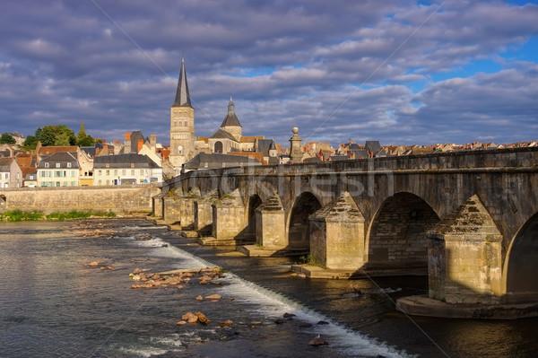 La Charite-sur-Loire in Burgundy, town and river Loire Stock photo © LianeM
