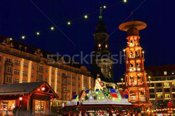 Drezda karácsony piac 19 épület város Stock fotó © LianeM