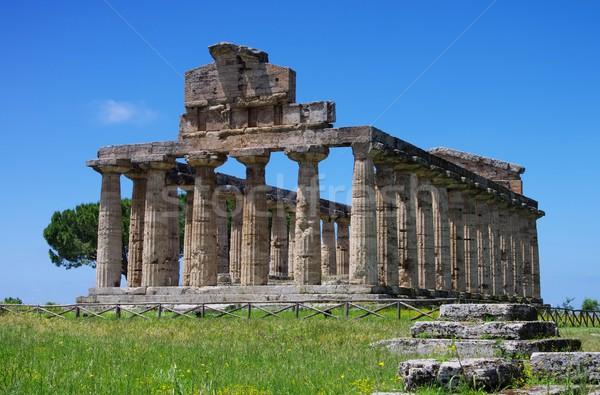 Gökyüzü mavi kültür tapınak Yunan ören Stok fotoğraf © LianeM