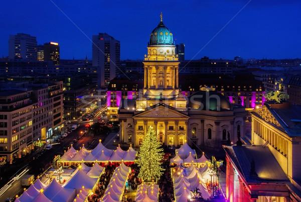 Berlin karácsony piac épület város fény Stock fotó © LianeM