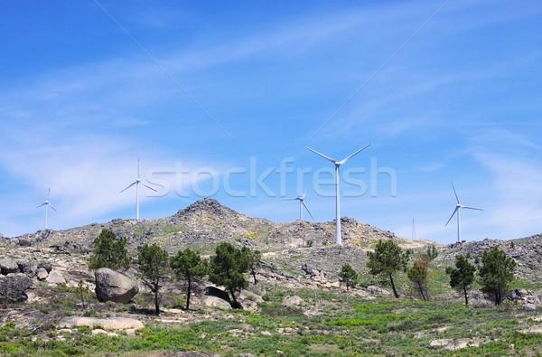 Szélturbina tájkép hegy zöld kék kő Stock fotó © LianeM