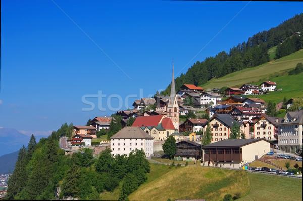 Alpler kilise kaya Avrupa vadi kasaba Stok fotoğraf © LianeM