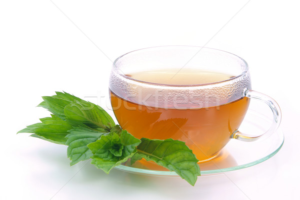 Tea borsmenta üveg háttér ital csésze Stock fotó © LianeM