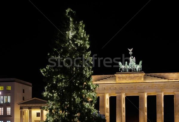 Berlin Brandenburgi kapu karácsony fa fény éjszaka Stock fotó © LianeM