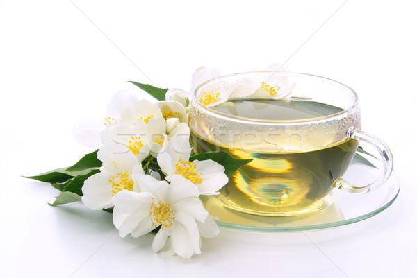 Stock fotó: Tea · virág · orvosi · üveg · háttér · ital