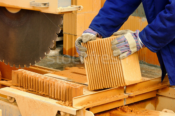 каменные увидела здании строительство работу кирпичных Сток-фото © LianeM