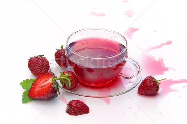 Stock fotó: Eper · tea · orvosi · levél · gyümölcs · üveg