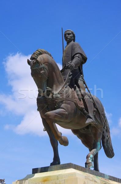 Lovas szobor égbolt lovag Stock fotó © LianeM