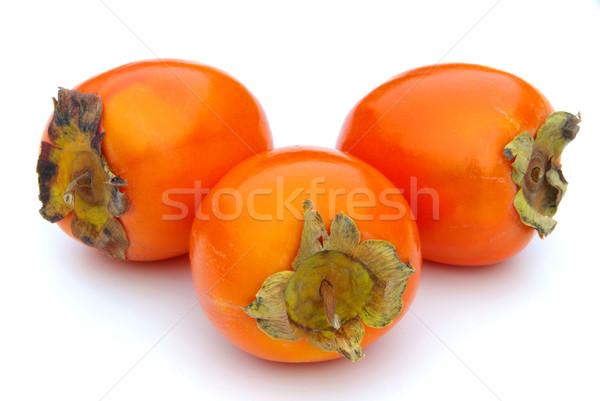 Japoński persimmon 14 owoców tle tropikalnych Zdjęcia stock © LianeM