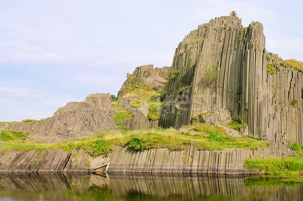 14 dağ kaya taş gölet sütun Stok fotoğraf © LianeM